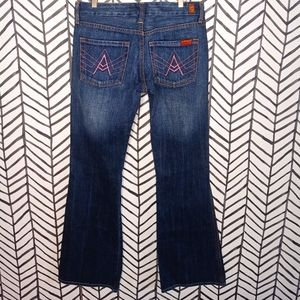 7 FAM Jeans Pink A Pocket Flares *Like new*